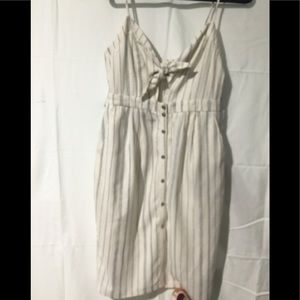 NWT Astr Cream/Blk Stripe linen Spg Strap Dress Lg